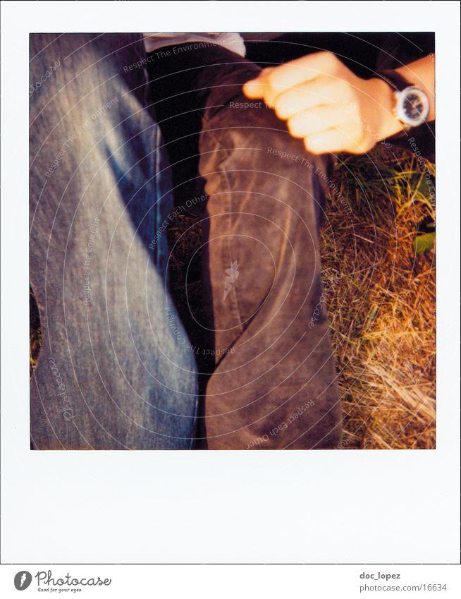 polaroid_poetry_1 Natur Hand Sommer Wiese Gras Freundschaft Lifestyle Uhr Hose analog Falte Anschnitt Polaroid Fototechnik erfassen