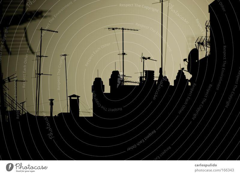 Himmel dunkel Horizont Dach viele Fernseher Schornstein Fühler Kamin Antenne