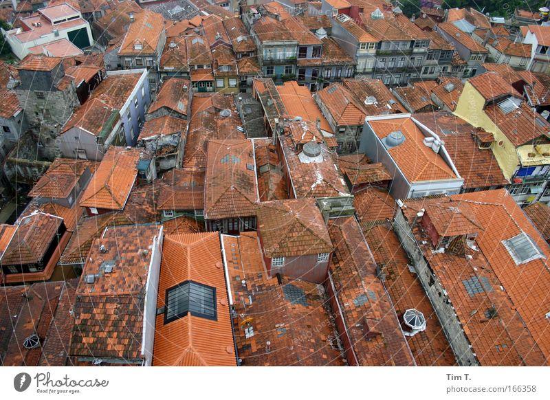 Portos Dächer Farbfoto Außenaufnahme Luftaufnahme Menschenleer Tag Vogelperspektive Ferien & Urlaub & Reisen Sightseeing Städtereise Haus Portugal Europa Stadt