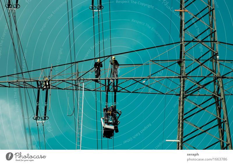 Hochspannung Hochspannungsleitung Energiewirtschaft Reparatur Arbeiter Mensch Strommast Konstruktion Ingenieur strompreis Ressource Technik & Technologie