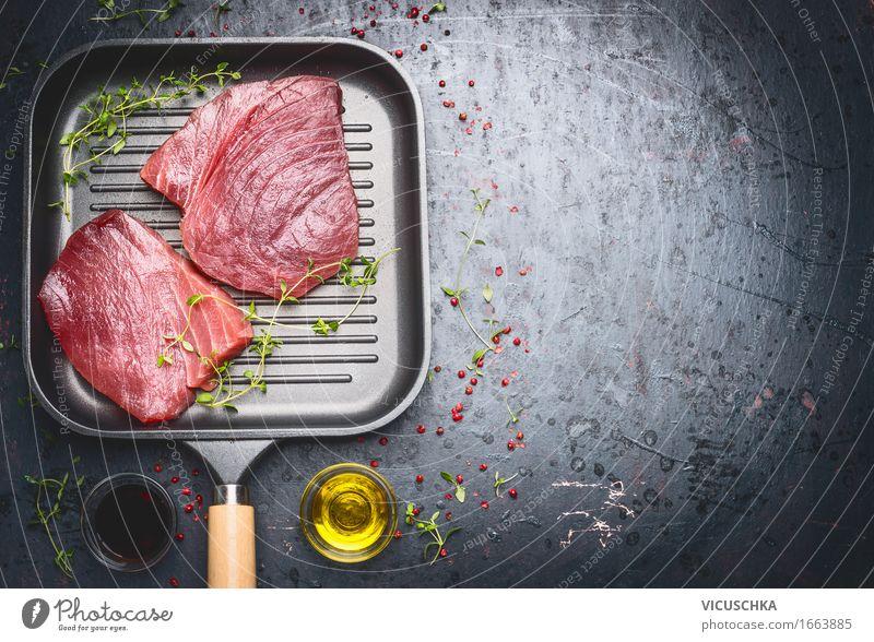 Thunfisch Steaks in Grillpfanne Lebensmittel Fisch Kräuter & Gewürze Öl Ernährung Mittagessen Festessen Bioprodukte Vegetarische Ernährung Diät Pfanne Stil