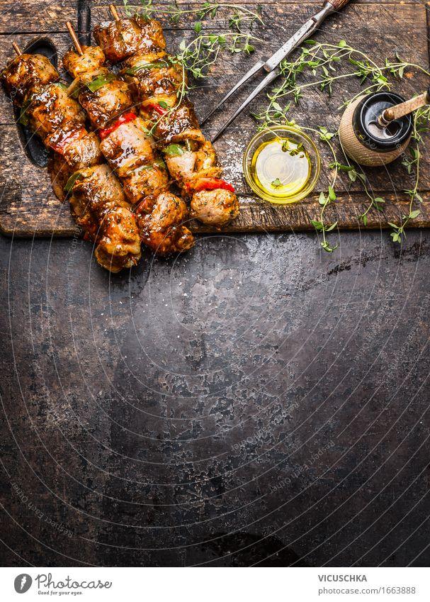 Marinierte Fleisch Spieße mit Gemüse für Grill Gesunde Ernährung dunkel Foodfotografie Stil Lebensmittel Design Tisch Kochen & Garen & Backen Kräuter & Gewürze