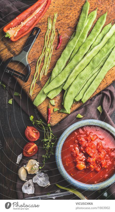 Grüne Bohnen und Gemüse Zutaten fürs Kochen grün Gesunde Ernährung Leben Stil Lebensmittel Design Häusliches Leben Tisch Kochen & Garen & Backen