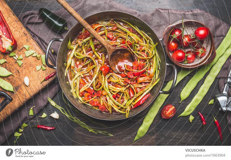 Grüne Französische Bohnen Mahlzeit mit Kochlöffel Lebensmittel Gemüse Kräuter & Gewürze Öl Ernährung Mittagessen Büffet Brunch Festessen Bioprodukte