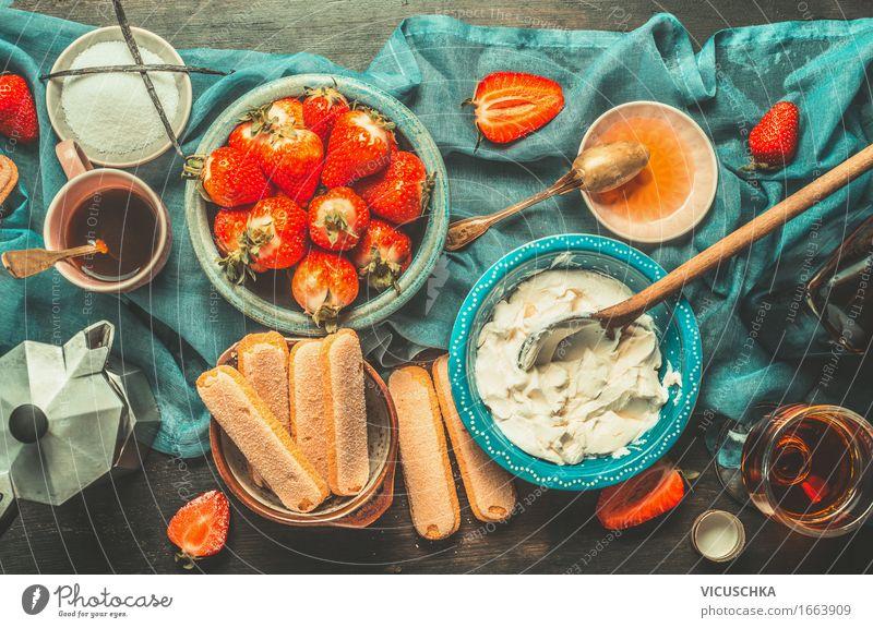Erdbeere Tiramisu Zutaten Lebensmittel Käse Frucht Kuchen Dessert Süßwaren Ernährung Bioprodukte Vegetarische Ernährung Italienische Küche Getränk Kaffee