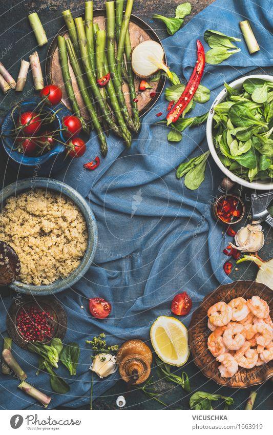 Quinoa kochen . Gesundes Gemüse und Quinoa Gesunde Ernährung Leben Foodfotografie Stil Lebensmittel Design frisch Tisch Kochen & Garen & Backen