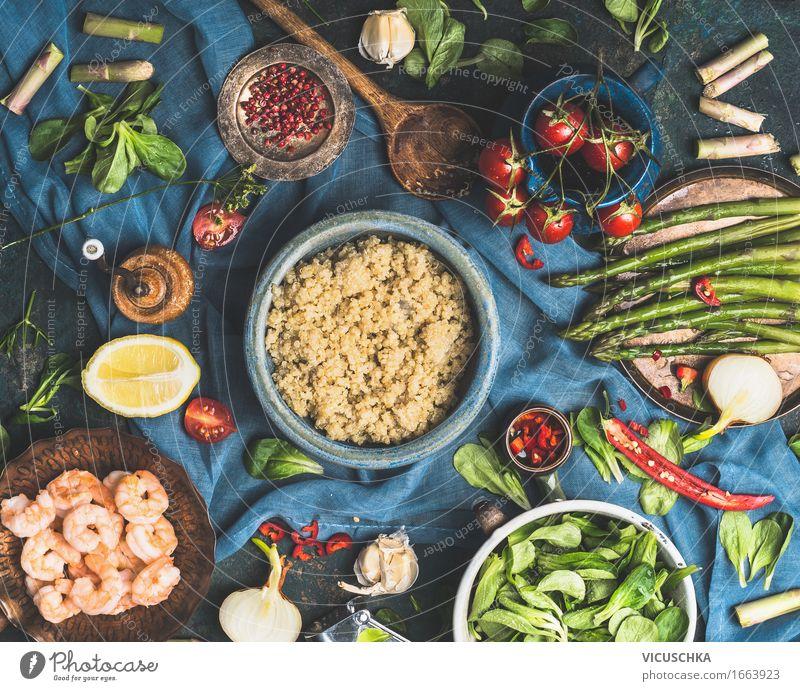 Quinoa mit Gemüse Zutaten Gesunde Ernährung Leben Foodfotografie Stil Lebensmittel Design Häusliches Leben Tisch Kräuter & Gewürze Küche Getreide Bioprodukte