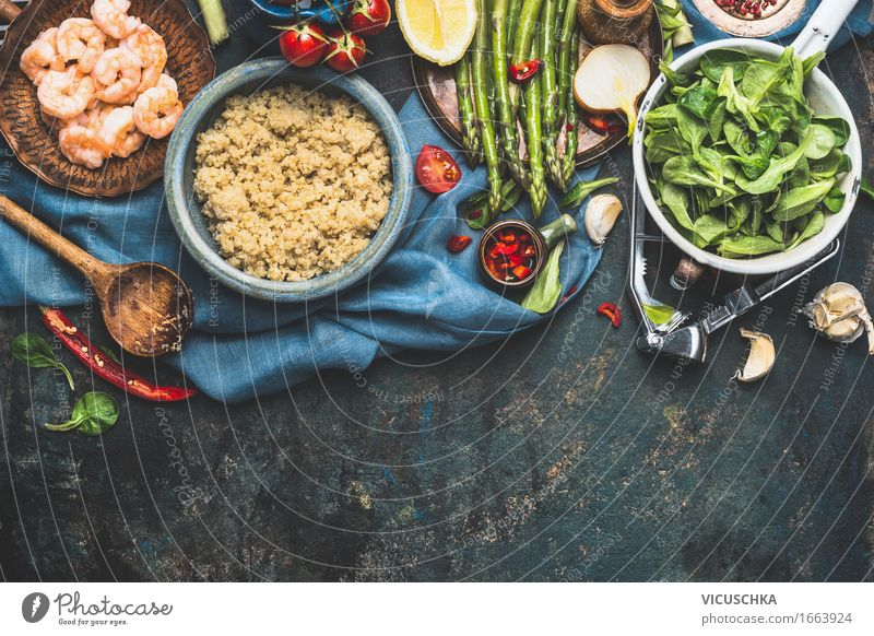 Quinoa mit frischem Gemüse Zutaten Gesunde Ernährung Leben Essen Foodfotografie Stil Lebensmittel Design Häusliches Leben Tisch Kochen & Garen & Backen
