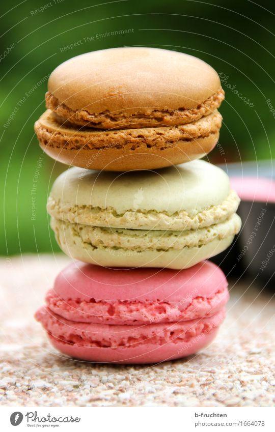 Drei bunte Macarons gestapelt Lebensmittel Süßwaren Stein braun mehrfarbig grün violett süß Stapel Backwaren Keks verführerisch Farbfoto Außenaufnahme