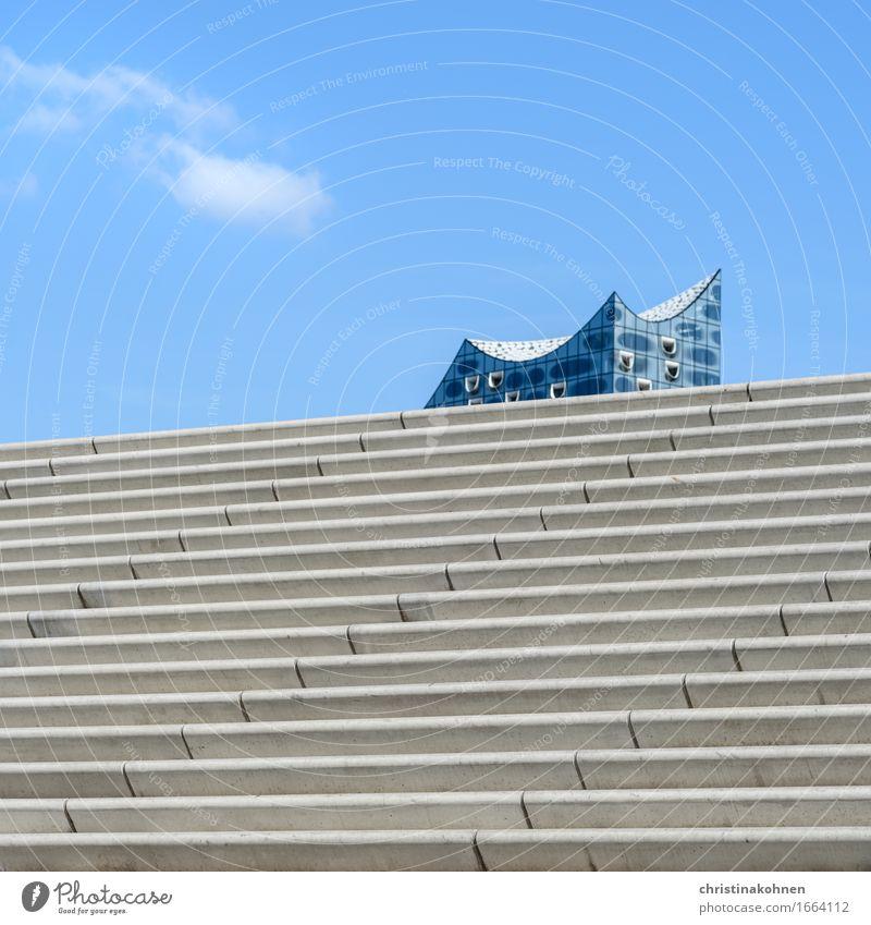 Segel setzen. Himmel blau Architektur außergewöhnlich grau Treppe elegant Ordnung modern ästhetisch Perspektive Europa Zukunft Beton Schönes Wetter Hamburg