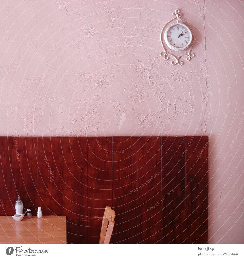 wer hat an der uhr gedreht? Menschenleer Holz rosa Tisch Stuhl Restaurant Gastronomie Zucker Salz Pfeffer Sitzgelegenheit reserviert Kellner Uhr Mittagessen