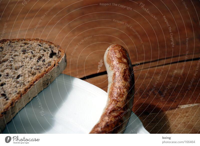 Zipfel Detailaufnahme Schwache Tiefenschärfe Lebensmittel Fleisch Wurstwaren Brot Ernährung Abendessen Büffet Brunch Bioprodukte Fingerfood Teller harmonisch