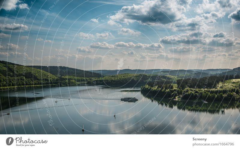 Biggesee Romantik Ferien & Urlaub & Reisen Tourismus Ausflug Natur Landschaft Himmel Wolken Sonne Sonnenlicht Sommer Schönes Wetter Baum Wald Hügel