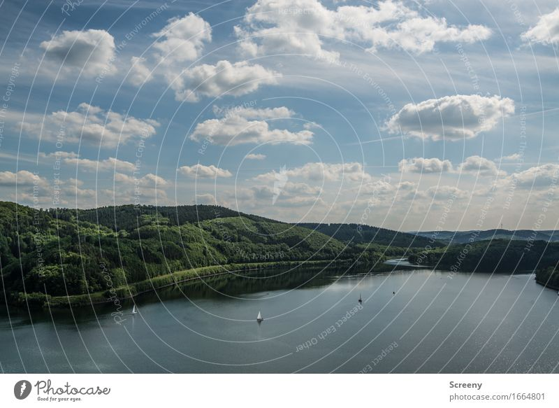 Biggesee Himmel Natur Sommer Wasser Landschaft Wolken ruhig Frühling See Schönes Wetter Hügel Seeufer Segelboot Jacht Bootsfahrt Sportboot