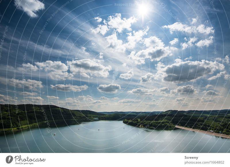 Sommersauerland Himmel Natur Ferien & Urlaub & Reisen Pflanze Sonne Landschaft Wolken ruhig Ferne Wald Berge u. Gebirge See Tourismus Ausflug Schönes Wetter