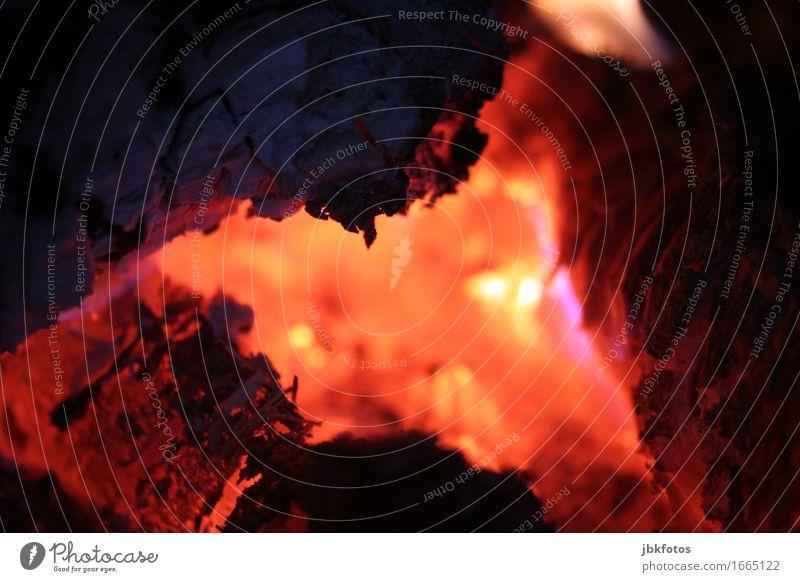 Hitze Wärme heiß Glut Feuer Kohle glühen Flamme Kaminfeuer Grillen Grillkohle Farbfoto Nahaufnahme Detailaufnahme Makroaufnahme Menschenleer Textfreiraum links