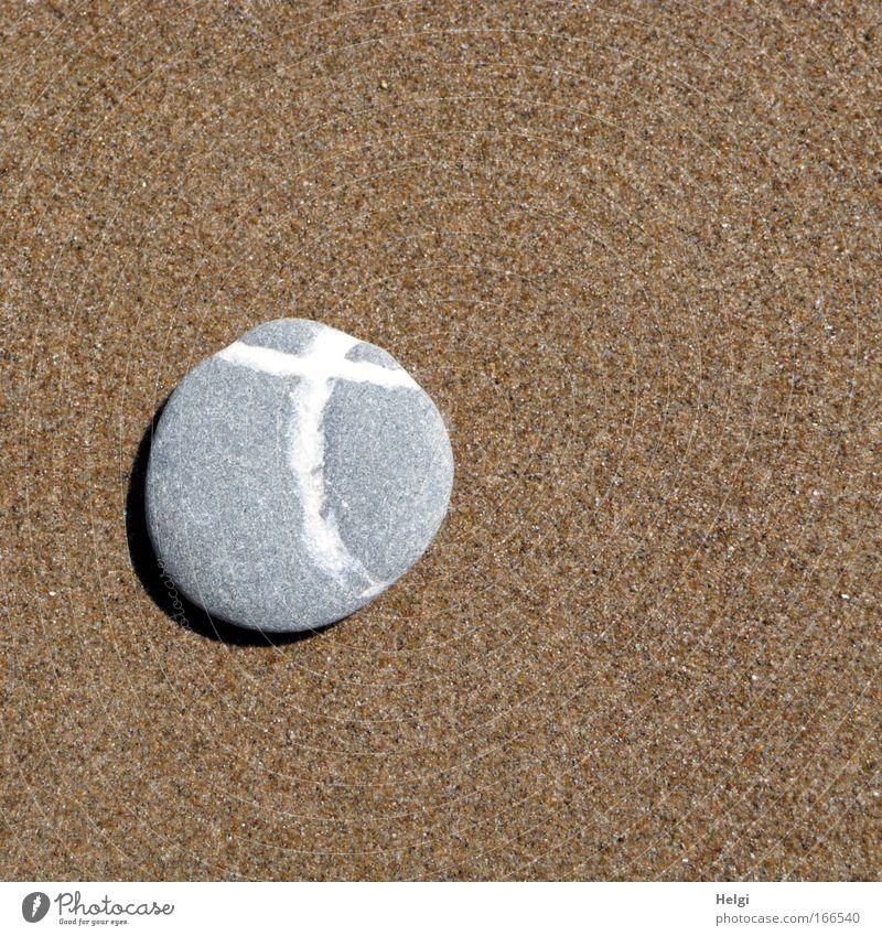 Kreuz Natur schön weiß Strand Tod grau Stein Sand Christentum braun Religion & Glaube Küste klein Hoffnung Trauer ästhetisch