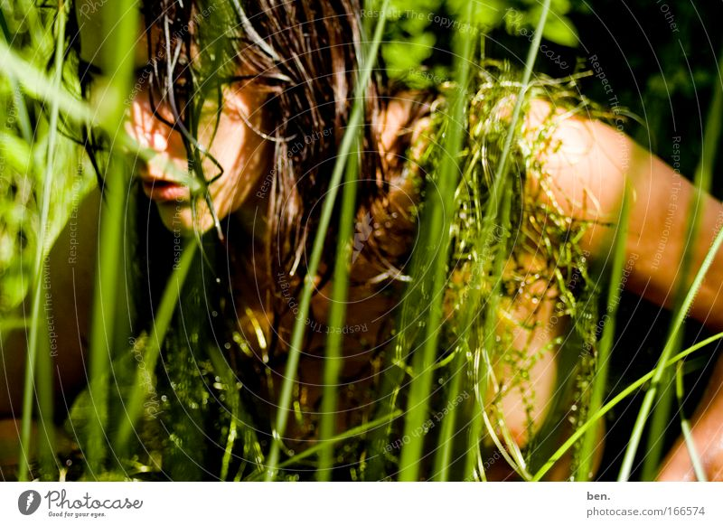 In Natura Farbfoto Außenaufnahme Tag Blick nach unten Ernährung Mensch feminin Junge Frau Jugendliche Erwachsene Kopf 1 18-30 Jahre Umwelt Pflanze Tier