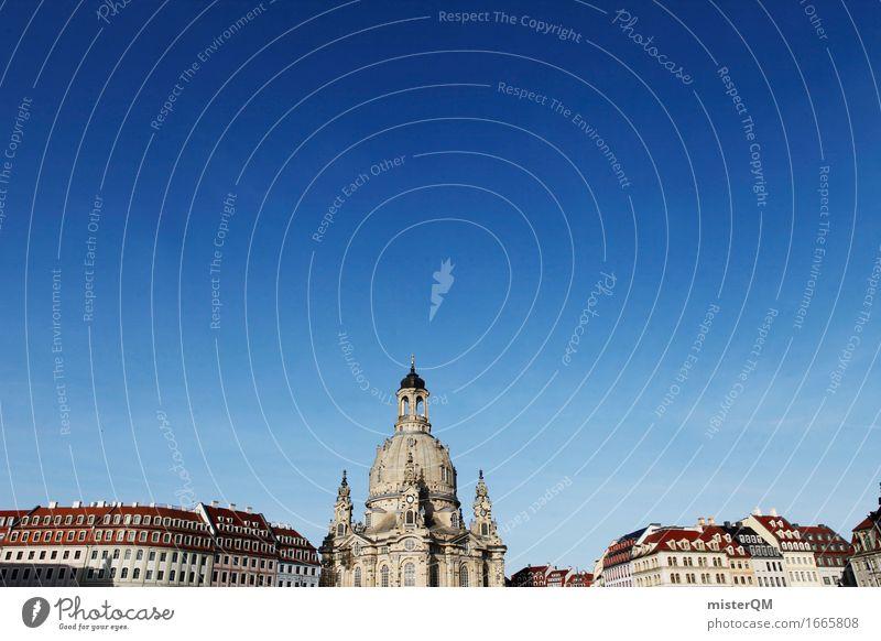 Dresden I Kunst Gemälde ästhetisch Frauenkirche Deutschland Sehenswürdigkeit Skyline historisch Blauer Himmel Renaissance Kirche Religion & Glaube Farbfoto