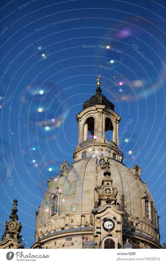 Dresden III Kunst Stadt Hauptstadt ästhetisch Frauenkirche Blauer Himmel Kuppeldach Kirche Religion & Glaube Seifenblase Sommer Farbfoto mehrfarbig