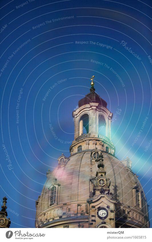 Dresden II Kunst Architektur ästhetisch Gebäude Gebäudeteil Frauenkirche Dach Blauer Himmel Kirche Farbfoto Außenaufnahme Experiment abstrakt Menschenleer