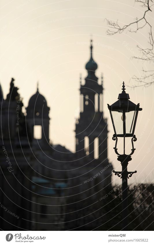Dresden V Umwelt Kunst Lampe Idylle ästhetisch Romantik Gemälde Hauptstadt Stadtzentrum Altstadt Flair Abenddämmerung verträumt Kunstwerk friedlich