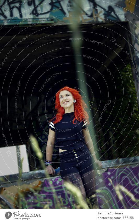 CityGirl_1666158 Lifestyle Stil schön feminin Junge Frau Jugendliche Erwachsene Mensch 13-18 Jahre 18-30 Jahre einzigartig Optimismus Zufriedenheit Farbe rot
