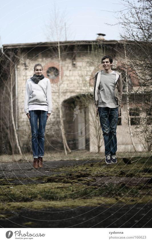 Riverdance Mensch Frau Mann Natur Jugendliche Freude Erwachsene Umwelt Leben Freiheit Bewegung springen Gebäude Freundschaft Zufriedenheit Tanzen
