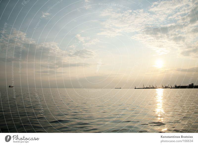 Feierabendstimmung Himmel Wasser blau schön Stadt Sonne Sommer Ferien & Urlaub & Reisen Meer Wolken Farbe Gefühle Horizont groß Europa Romantik