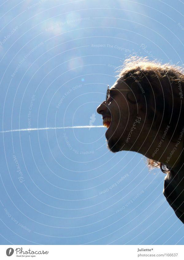 Flugzeug im Bauch Mensch Himmel Mann blau weiß Ferien & Urlaub & Reisen Sommer Freude schwarz Erwachsene Leben Kopf lachen Haare & Frisuren Luft Wetter