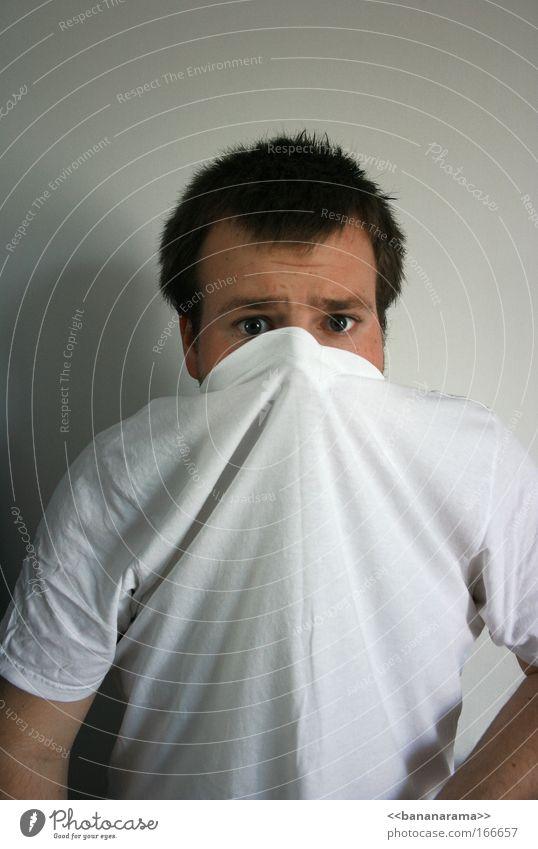 Aahh, Rückzug! Mensch Mann Jugendliche weiß Gesicht Erwachsene Angst maskulin verrückt gefährlich bedrohlich T-Shirt Schutz Todesangst brünett 18-30 Jahre