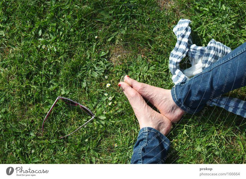Tag im Pak Farbfoto Außenaufnahme Textfreiraum links Schatten Sonnenlicht Vogelperspektive Beine Fuß Umwelt Natur Pflanze Wiese Sonnenbrille Schal sitzen grün