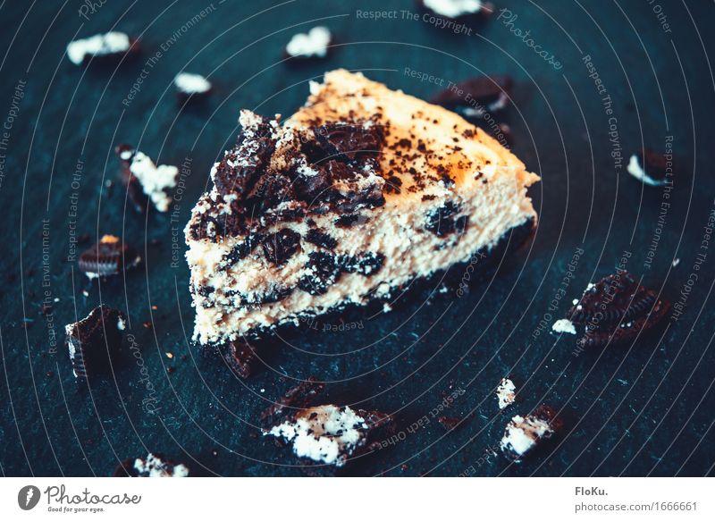 Oreo-Crumble Cheesecake Lebensmittel Teigwaren Backwaren Kuchen Dessert Süßwaren Ernährung Essen Kaffeetrinken Vegetarische Ernährung schön lecker süß blau gelb