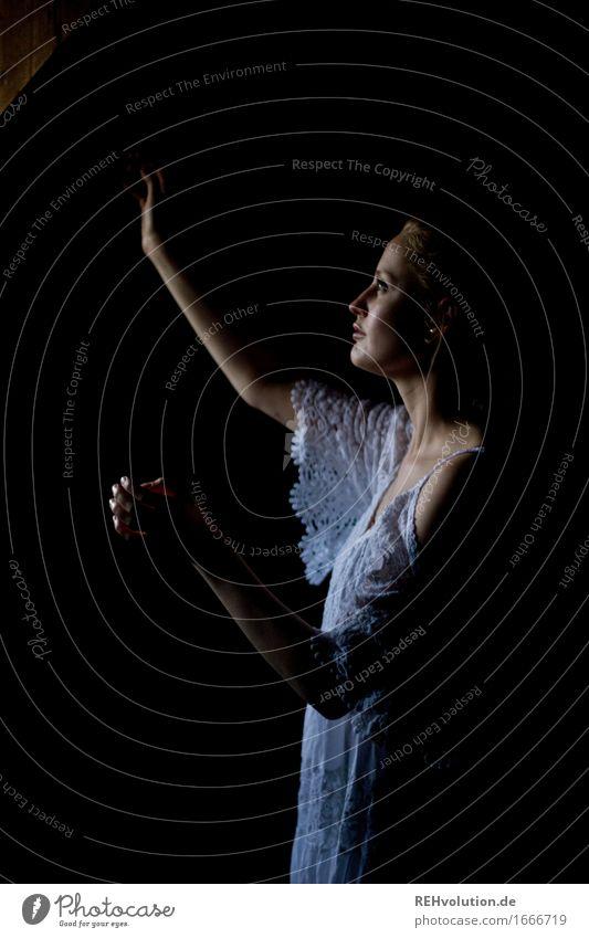 alexa Mensch feminin Junge Frau Jugendliche 1 18-30 Jahre Erwachsene Kleid blond dunkel schön Gefühle Stimmung Sehnsucht Einsamkeit Schüchternheit Angst