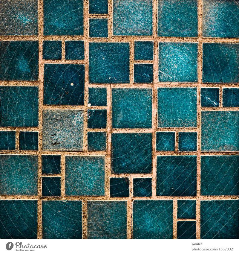 Algorithmus Mauer Wand Fassade Zierstein Ornament ornamental eckig Zusammensein retro blau orange türkis ästhetisch Genauigkeit Zufriedenheit gleich komplex