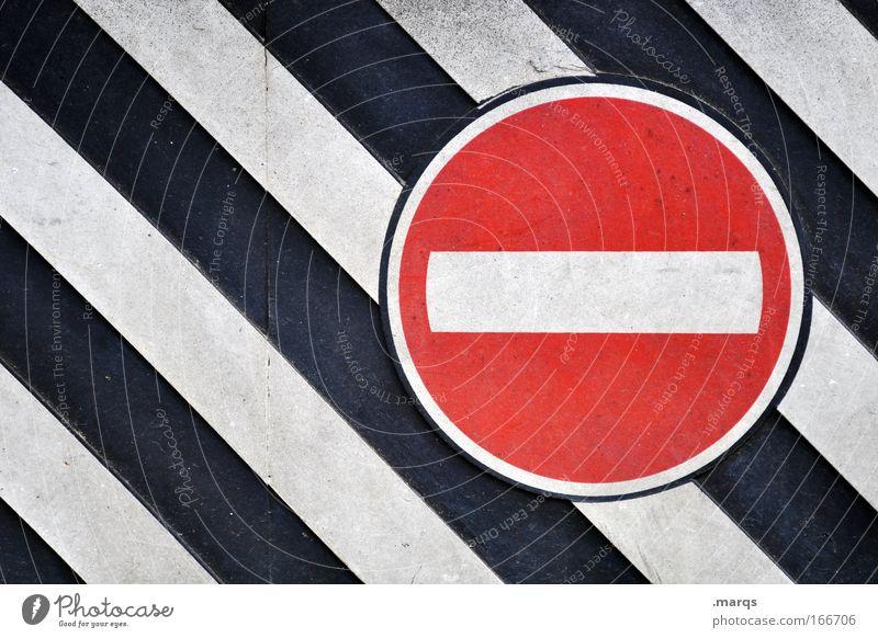 Stop weiß rot schwarz Stil Linie Schilder & Markierungen Ordnung Design Verkehr verrückt außergewöhnlich Streifen fahren Hinweisschild einfach Sauberkeit