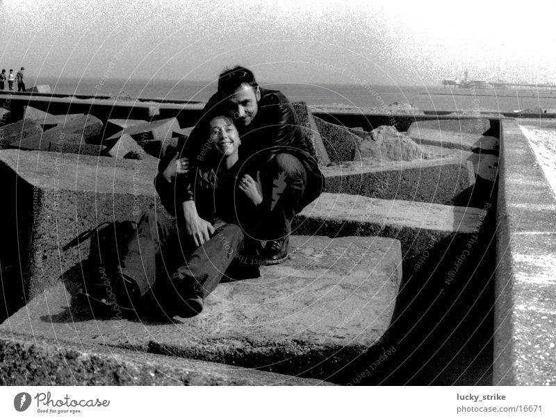 Retro 2001 Menschengruppe Paar Beton Horizont Nordsee