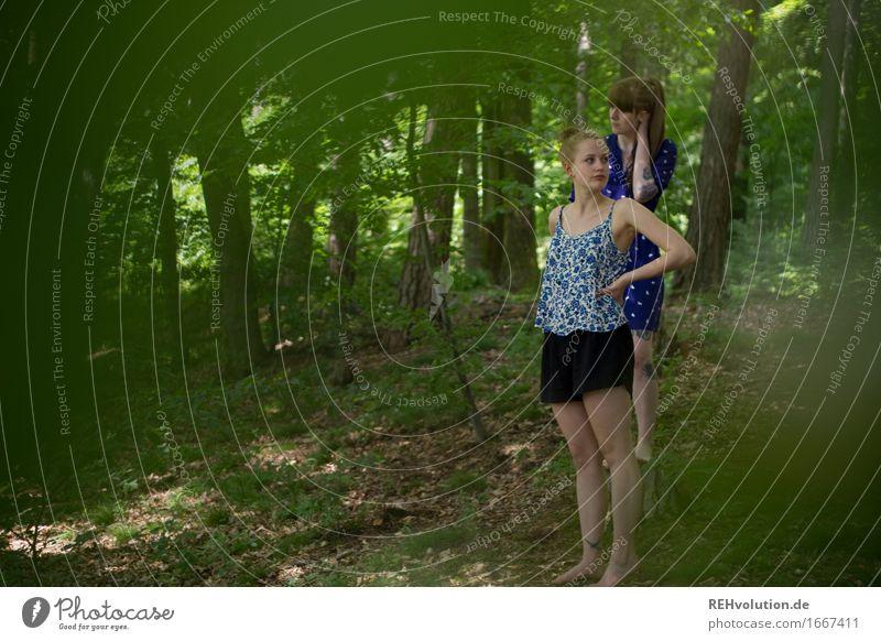 im wald Mensch feminin Junge Frau Jugendliche 2 18-30 Jahre Erwachsene Umwelt Natur Pflanze Baum Wald Tattoo beobachten Erholung stehen Zusammensein trendy