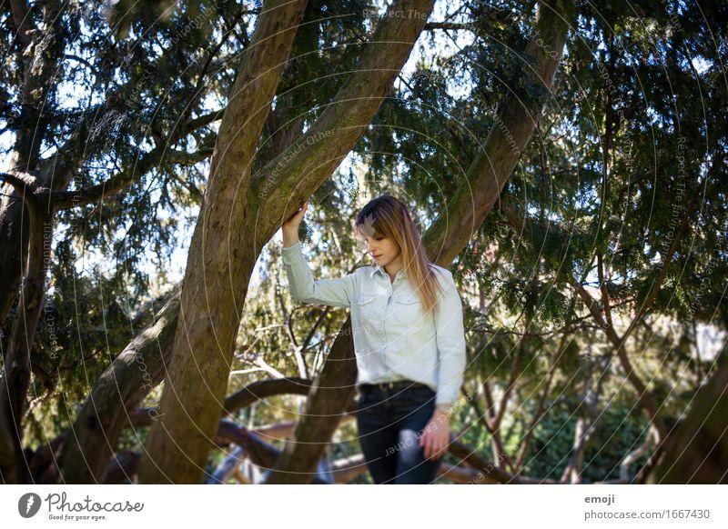 into the wild feminin Junge Frau Jugendliche 1 Mensch 18-30 Jahre Erwachsene Wald natürlich Farbfoto Außenaufnahme Tag Oberkörper Blick nach unten