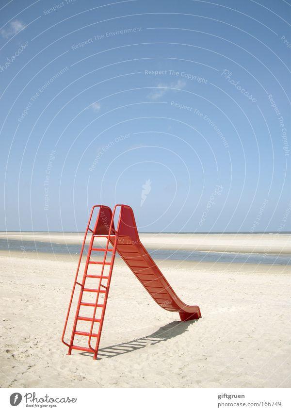 rutschpartie Farbfoto Außenaufnahme Menschenleer Textfreiraum oben Tag Umwelt Natur Landschaft Himmel Sonne Sommer Schönes Wetter Strand Nordsee Langeoog Freude