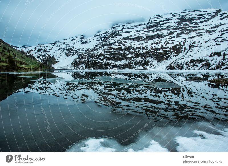 Bergsee Engstlenalp Himmel Natur Ferien & Urlaub & Reisen schön Landschaft Wolken dunkel Berge u. Gebirge kalt Frühling Schnee außergewöhnlich Freiheit See