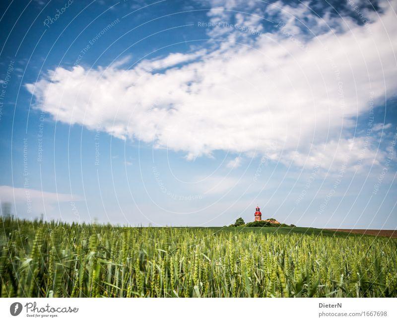 Am Feld Natur Landschaft Himmel Wolken Frühling Wetter Schönes Wetter Menschenleer Gebäude Architektur Sehenswürdigkeit blau grün weiß Leuchtturm Ostsee Küste