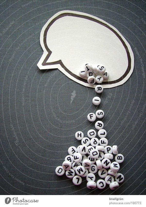 Worthülse Schwarzweißfoto Comic Literatur schwarz sprechen grau Kommunizieren Schriftzeichen Zeichen Kunststoff Sprache Sprechblase
