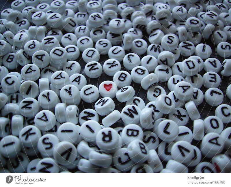 Laß dein Herz sprechen! weiß rot schwarz Gefühle Glück Schriftzeichen Herz Kommunizieren Zeichen
