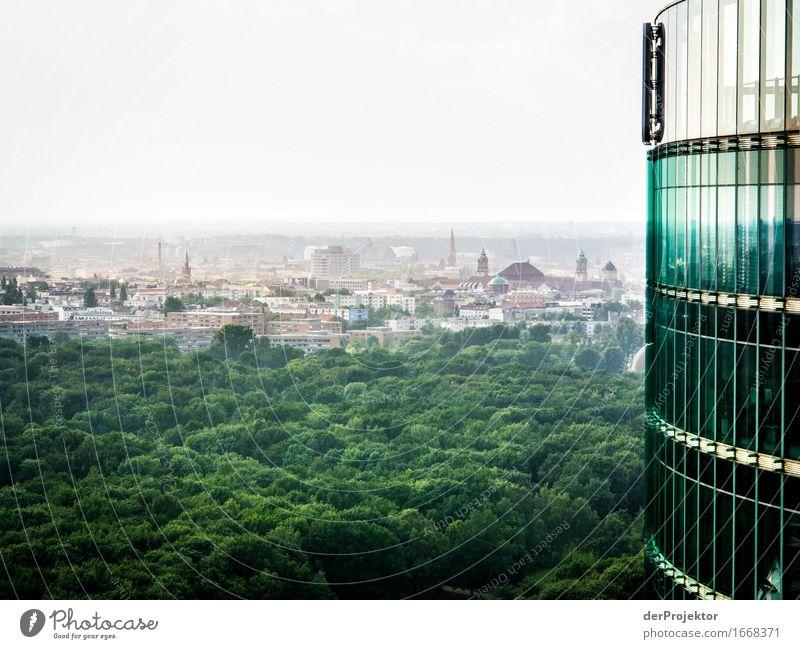 Grünes Berlin Ferien & Urlaub & Reisen Sommer Ferne Wald Gefühle Freiheit Fassade Tourismus Park Hochhaus Glas Ausflug Aussicht hoch Schönes Wetter Eisenbahn