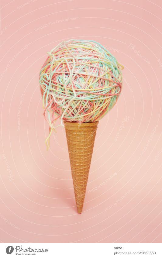 1x Spaghetti-Eis Sommer Speise Foodfotografie lustig Kunst außergewöhnlich Lebensmittel Design Ernährung ästhetisch Kreativität Idee Speiseeis süß rund Schnur
