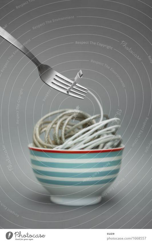 Kabelsalat | Das jüngste Gericht Gesunde Ernährung Speise Foodfotografie Essen lustig grau verrückt Elektrizität Internet Appetit & Hunger Verbindung