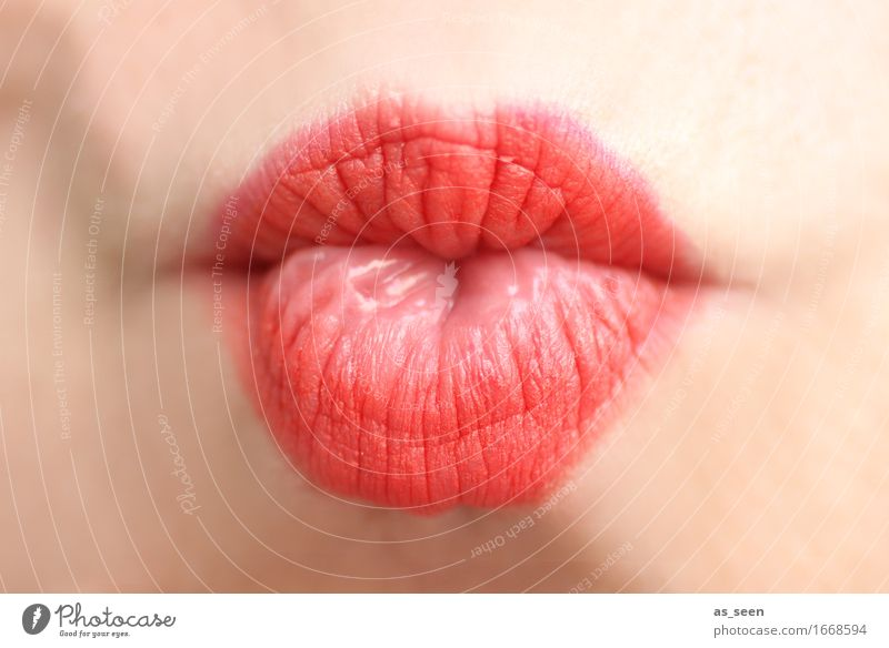 Just a kiss Mensch Farbe schön Erotik Leben Liebe Gefühle feminin Lifestyle hell rosa modern Fröhlichkeit Mund weich