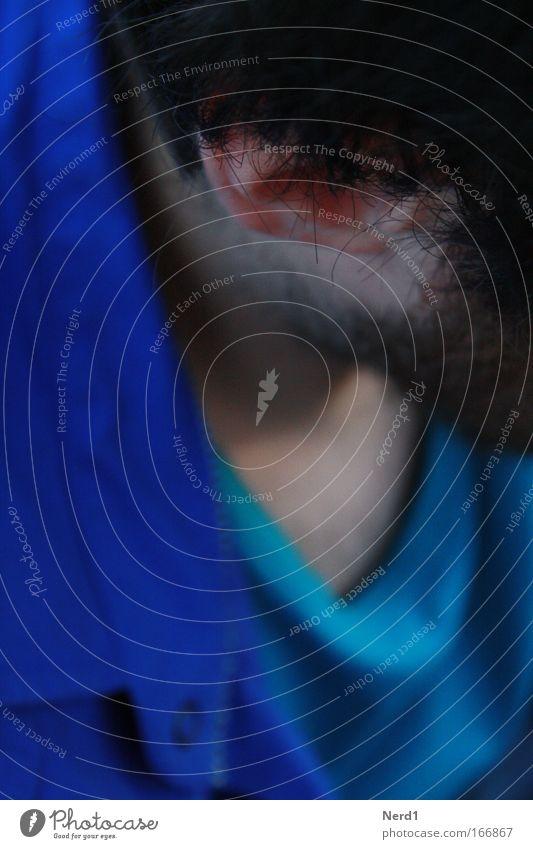 Blau Mensch Mann blau Kopf Haare & Frisuren Erwachsene Haut Behaarung maskulin Bekleidung Ohr Brust Hemd Bart Anschnitt schwarzhaarig