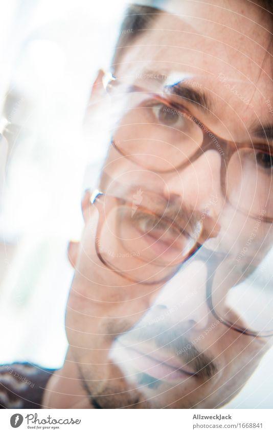 Dreifach II Junger Mann Jugendliche Erwachsene Kopf Gesicht 1 Mensch 30-45 Jahre trendy kalt Glück Reflexion & Spiegelung Farbfoto Innenaufnahme Experiment Tag